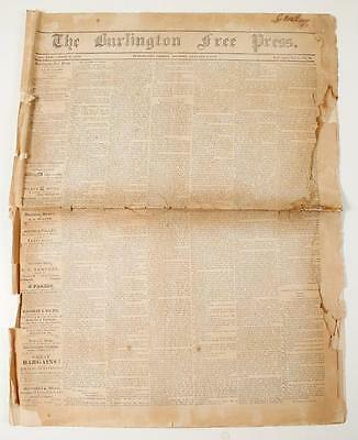 THE BURLINGTON FREE PRESS ~ Friday Morning, January 9, 1852 ~ Vermont newspaper