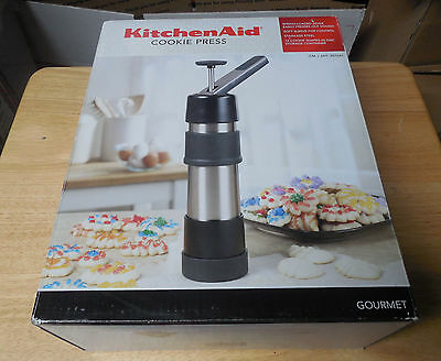 Kitchen Aid Stainless Steel Cookie Press 12 Discs Gourmet Complete In Box