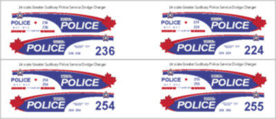 1/43 Scale Greater Sudbury Police Service Dodge Charger Decals - New Release!!!
