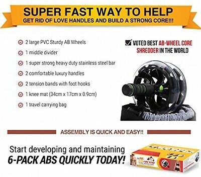 Ab Roller Workout Wheel Abs Trainer Abdominal Exercise Equipment w/ Resistance