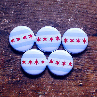 """1"""" CHICAGO FLAG BUTTONS (5pcs) chi-town Blackhawks Bears White Sox Cubs Pins NEW"""