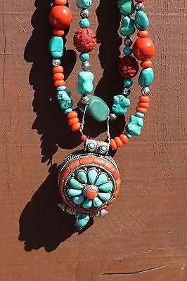Vintage Tibet Amulet and Necklace