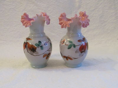 2 Vintage Fenton Pink Ruffled Crimped Hand Painted Victorian Blown Glass Vase