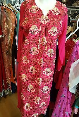 Indian pakistani emb linen Kurta Kurti Designer Women Ethnic Dress Top Tunic