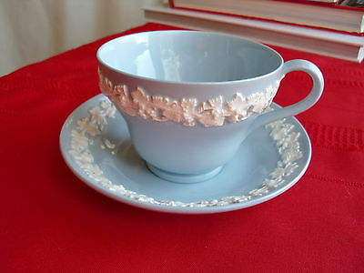 wedgwood queensware embossed teacup and saucer, white on blue, 1950's, perfect