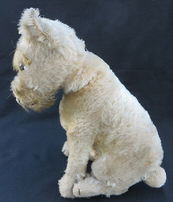 """Antique 1930s Steiff 11"""" Sitting Mohair Rattler Dog with Tail Turns Head"""