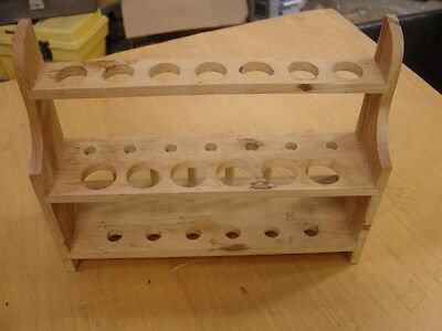 "TWO Vintage 9 1/2"" Wooden Test Tube Rack-13 Holes & 6 Pegs Holds 1""& 3/4"" tubes"