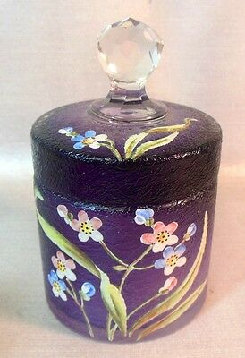 Antique Art Acid Cut Back Glass Trinket Box Vanity Jar Amethyst Purple Flowers