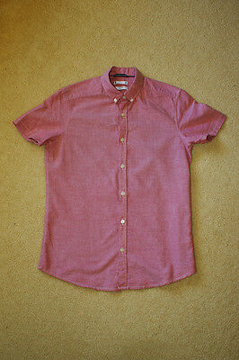 Pink slim-fit button-down collar shirt - size Small - short-sleeve - cotton