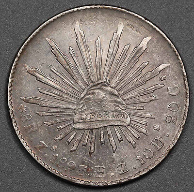 """1893 MEXICO Republic Zs FZ 8 Reales Silver Coin XF+ """"Cap and Rays"""" Nicely Toned"""