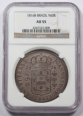 Brazil 1816 B 960 REIS Silver Coin NGC AU55 Struck over 8 Reales Choice AU