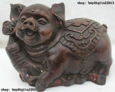 "4"" Marked Chinese Bronze Wealth Zodiac Year Pig Ball Yuan Bao Statue Sculpture"