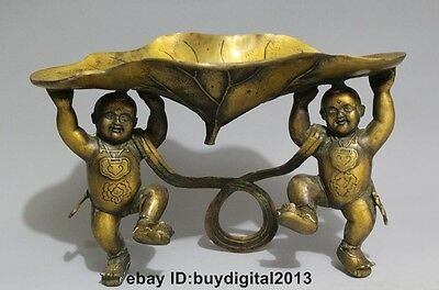 "10"" Chinese Bronze Folk Feng Shui Tong Zi Two Boy Lad lotus leaf Statue ashtray"