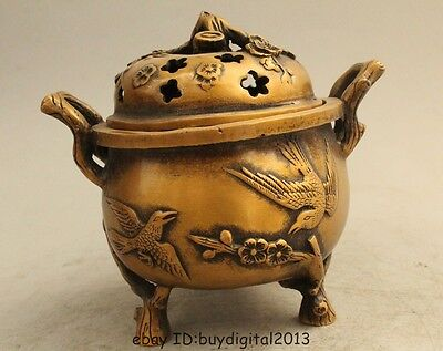 """4"""" Chinese Dynasty Folk Bronze plum blossom Two magpie picapica Burner Censer"""