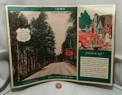1942 Phillips 66 IOWA Vintage Road Map Nice Graphics !