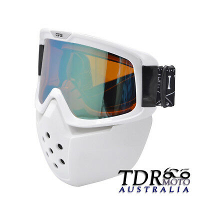 White Modular Mask Detachable Goggles And Mouth Filter Face Motorcycle Offroad