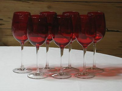 Vtg. Ruby Red w/Clear Stem Set of 7 Wine/Water 12 oz. Goblets