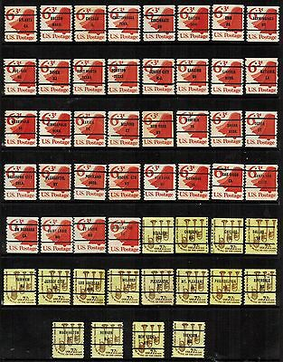 United States Precancels on 1973-76 Fractional Coils, 2 values, (52 diff), F/VF