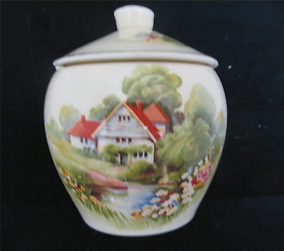 .royal Winton Lidded Sugar Bowl -  Red Roof Pattern