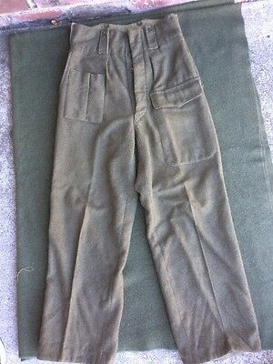 "Post WW2 Bruxelles Army Wool Trousers Pants  Sz 30""x 29"""