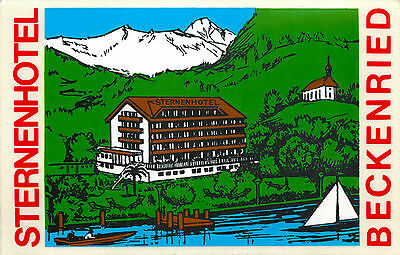 Sternen Hotel ~BECKENRIED SWITZERLAND~ Colorful Old Luggage Label / Decal