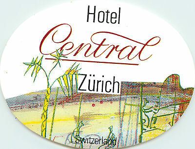 Hotel Central ~ZURICH SWITZERLAND~ Beautiful Old Luggage Label / Decal
