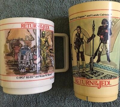 Vintage Star Wars Return Of The Jedi Irwin Toys Cups Lot Of 2