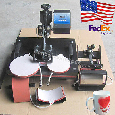 USA NEW 5In1 Digital Heat Press Machine Sublimation T-Shirt Mug Coffee Cup Plate