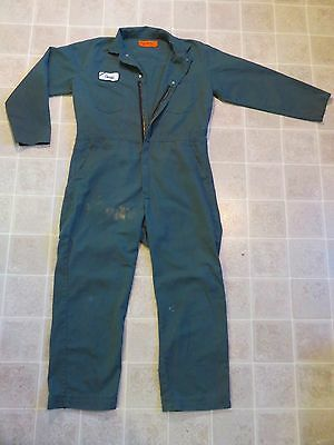 SOFTWEAR GCA Mechanic COVERALLS Mens 46-REG Hard Work Wear Auto Shop Green Soft