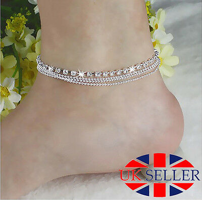 Silver Foot Chain Ankle Bracelet Tassels Crystal Rhinestone Anklet Foot Jewelry