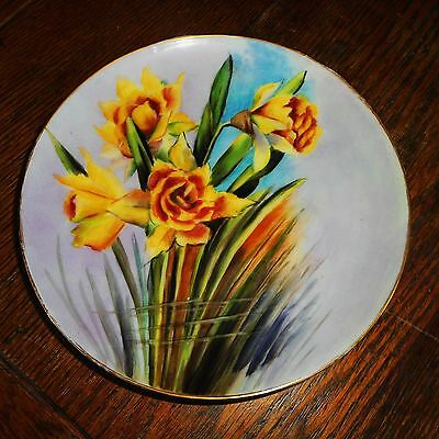 Vintage Haviland Limoges 7 5/8 Hand Painted Cabinet Plate YELLOW DAFFODIL-Signed