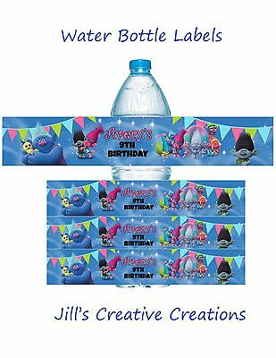 Trolls Water Bottle Labels, Trolls, Water bottle labels, Birthday, Trolls party
