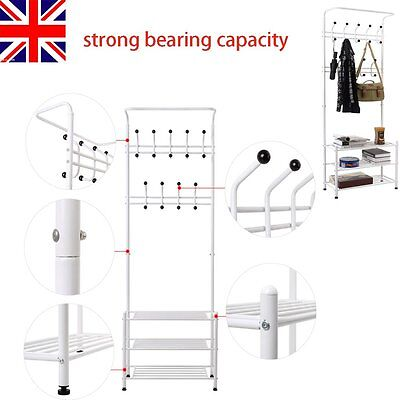 Metal Coat and Hat Stand Clothes Shoes Steel Pipe Stands Rack Hanger Hooks Shelf