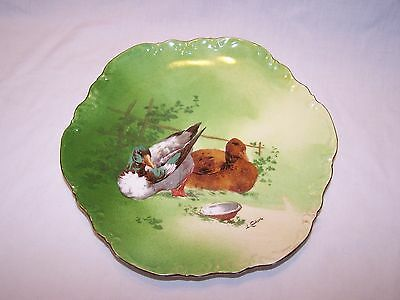 Limoges Coronet Hand Painted Plate with Birds - Artist Signed:  Coudert