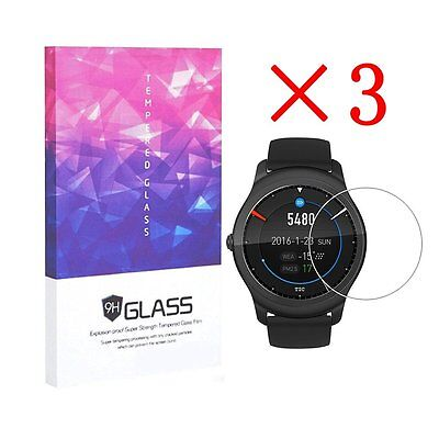 For Ticwatch 2 Tempered Glass Screen Protector Full Coverag 9H Hardness (3 pcs)