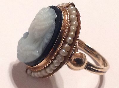 Antique Estate 14k yellow gold Seed Pearls Black Agate Cameo ring . size 4.5..