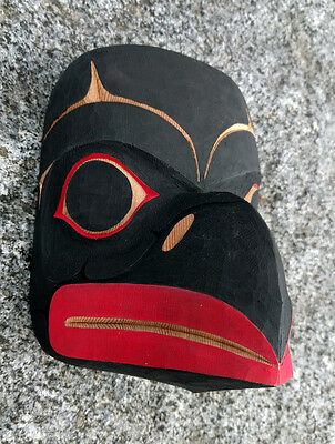 Northwest Coast BC Canada First Nations Art Traditional Cedar Crow Mask Carving
