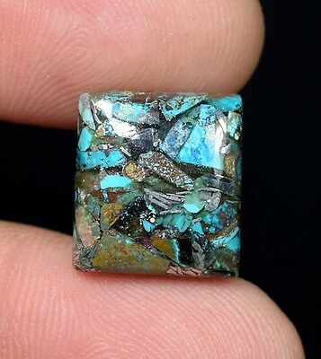Beautiful ! 7.80  Cts. Natural  Silver  Azurite  Cushion Cab For Silver Pendant