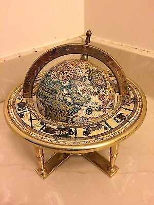 "Vintage Miniature Old World Earth Globe Metal Stand 7"" x 8"""