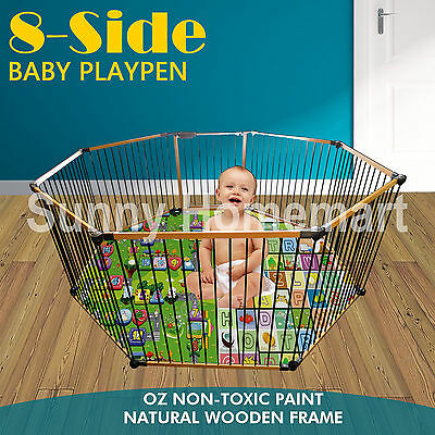 8 Panels Natural WOODEN Baby Toddler PLAYPEN , KIDS TODDLER , PET PEN , FENCE