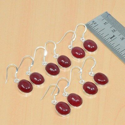 925 Solid Sterling Silver Wholesale 5Pair Natural Red Carnelian Earring Lot