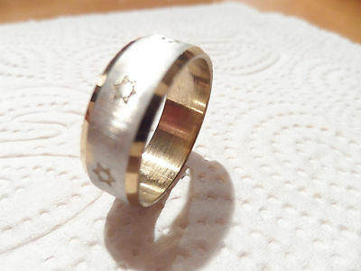 STAR OF DAVID RING Stainless steel & Gold Color magen david Jewish Judaica