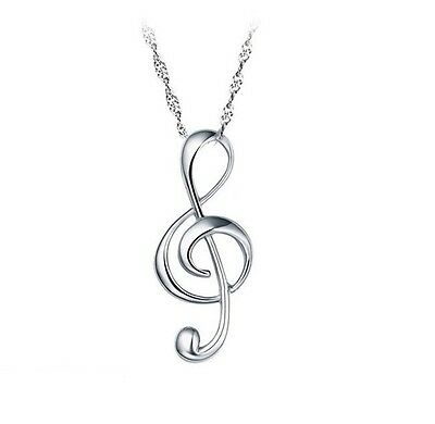 Sterling Silver G Clef Pendant Treble Musical Note Music Symbol Necklace Box L41