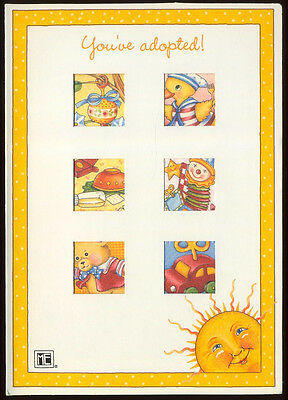 UNUSED 1997 Mary ENGELBREIT. NEW BABY Greeting Card LITTLE TOYS DIE-CUT +env