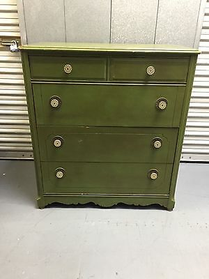 Set of (2) Antique/Vintage Dressers/Chest of drawers set + mirror painted Green