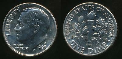 United States, 1995-D Dime, Roosevelt - Uncirculated