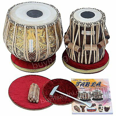 MAHARAJA Designer Tabla Drum Set, 3KG Brass Bayan, Finest Dayan with Padded Bag