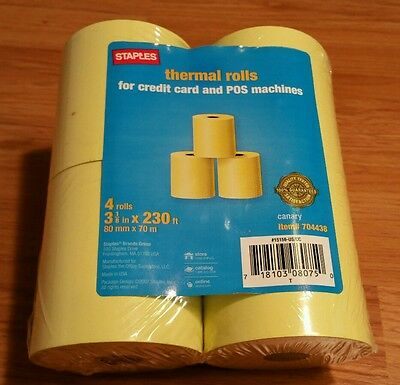 "Staples Single Ply Thermal Cash Register/POS Rolls, 3 1/8"" x 230 ft., Canary"