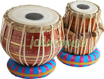 Tabla  Set~2.5 Kg Brass-Red_Bayan_Dayan~Free!!! Gig Bag~Cushion~Tuning Hammer
