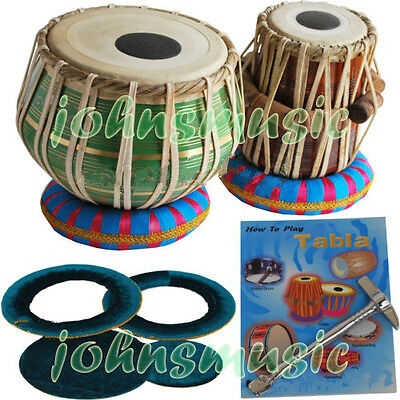 Tabla Drums Set~2.5 Kg Brass-Green Bayan~Dayan~Free!!! Gig Bag~Cushion~Tuning Ha